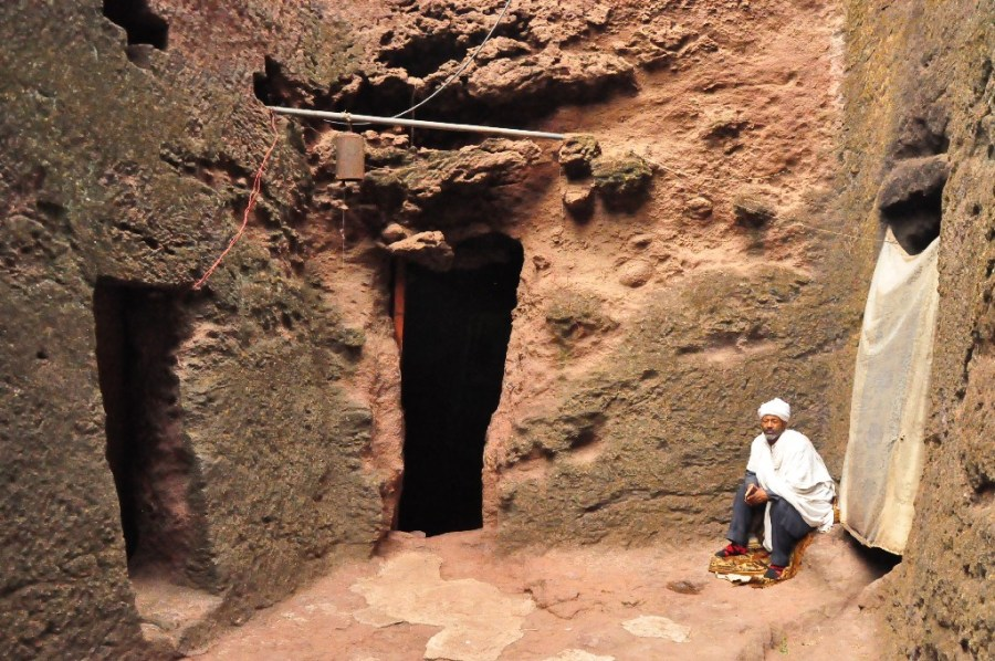 After Muslim conquests of the Holy Land prevented Christian pilgrimages to Jerusalem, an angel visited King Lalibela in a dream and decreed him to build a 'New Jerusalem' on African soil. It took hundreds of men, each paid with salt bars, 23 years and six months to excavate, based on Lalibela's instructions from memories of his visit to Jerusalem as a youth. The legend goes that men worked by day, and angles worked by night.