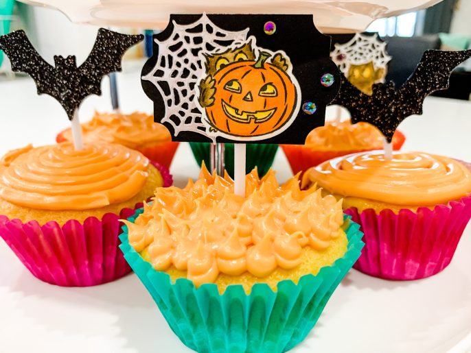 Halloween Cupcake Toppers Using Have A Hoot Set