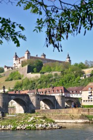 the castle in Wuerzburg and the old bridge - both are popular for a sundowner or wine drinking