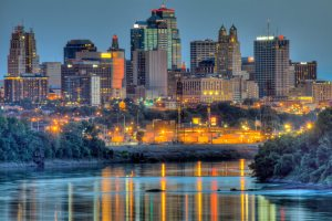 Kansas city skyline and MO river
