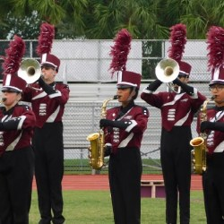 """MSD Eagle Regiment performs """"Beyond"""" on the football field. Photo by Brianna Jesionowski"""