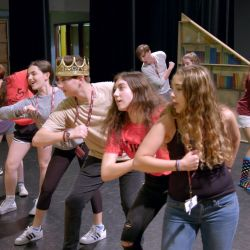"MSD Drama students practice performing for the show ""Yo Vikings!"" in spring of 2018."
