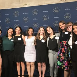 Juniors Zoe Gordon, Dara Rosen, Leni Steinhardt, senior Hannah Kapoor, junior Brianna Fisher, senior Rebecca Sneid, adviser Melissa Falkowski, sophomore Mackenzie Quinn, and junior Einav Cohen attend the 2019 Pulitzer Prize luncheon. Photo by Holly Van Tassel-Shuster