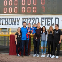 Anthony Rizzo stands in front of the newly named Anthony Rizzo fields at Marjory Stoneman Douglas High School on Feb. 3, 2020. Photo courtesy of Jillian Jarboe