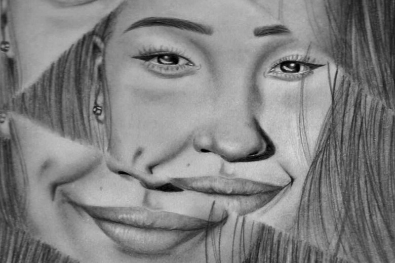 Here is Wints' fractured portrait piece, she used graphite pencils for. Photo courtesy of Jaedyn Wint.