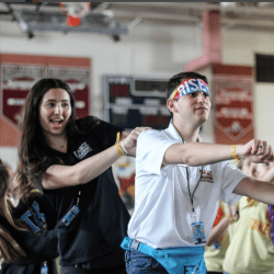 Dance Marathon participants learn different line dances.  Photo by Nicole Martin