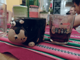 Our fancy wine cups. I had the cow