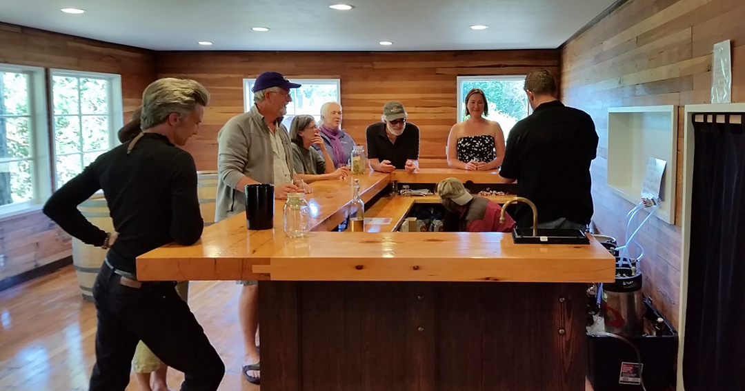 A small group sampling some of our wines and ciders