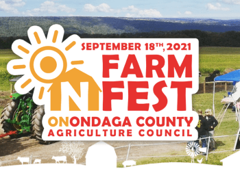 The red, white and yellow ON Farm Fest logo over a scene of a farm