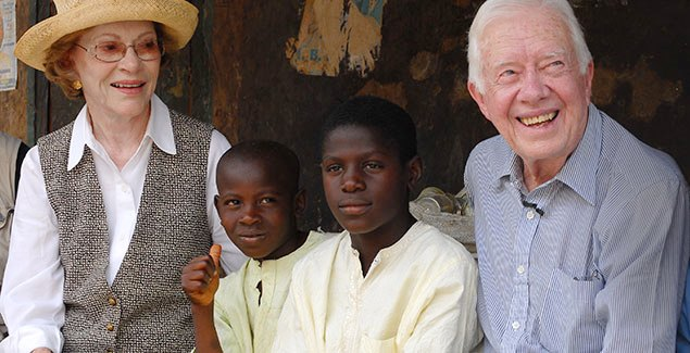 Jimmy and Rosalynn Carter with African children