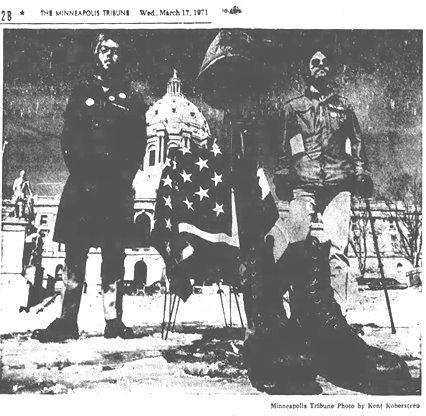John on the left and Pete Foley on the right in front of Minnesota Capitol