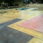 Slab of colored concrete