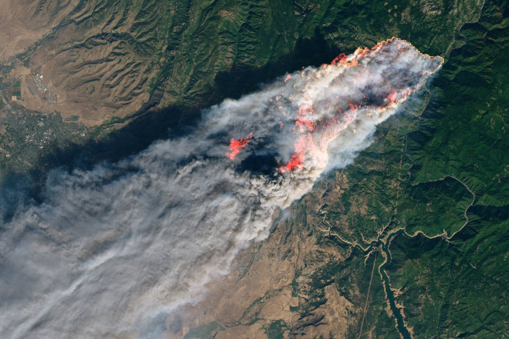 The Camp Fire from space. The Camp Fire became the most destructive fire in California's history, scorching approximately 240 square miles (622 square kilometers), destroying nearly 14,000 buildings, causing billions of dollars in damage and killing 88 people. Credit: NASA