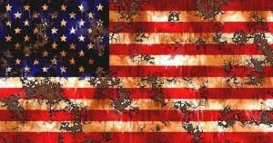 American flag, damaged by gunfire or something else