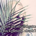 Can a private investigator do a background check?