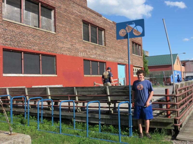 Community sailing center bike rack