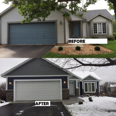 James Hardie Siding Deep Ocean with Grey Slate Shakes and White Trim. Cultured Stoned on the front of the house as well.