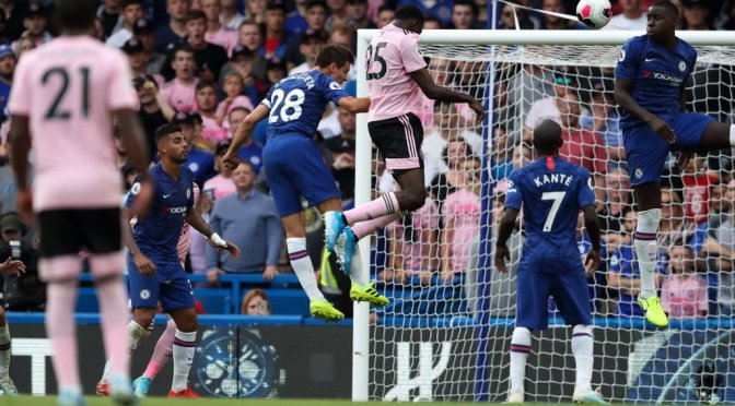 Wilfred Ndidi scores a header against Chelsea