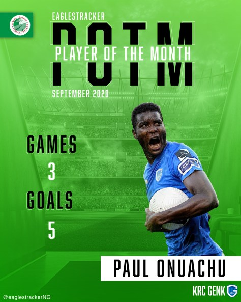 Paul Onuachu wins Nigerian Player of the Month Award for September