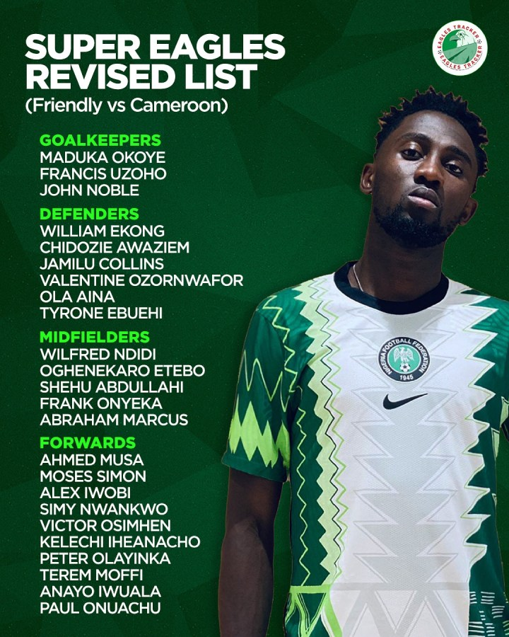 Super Eagles squad to face Cameroon