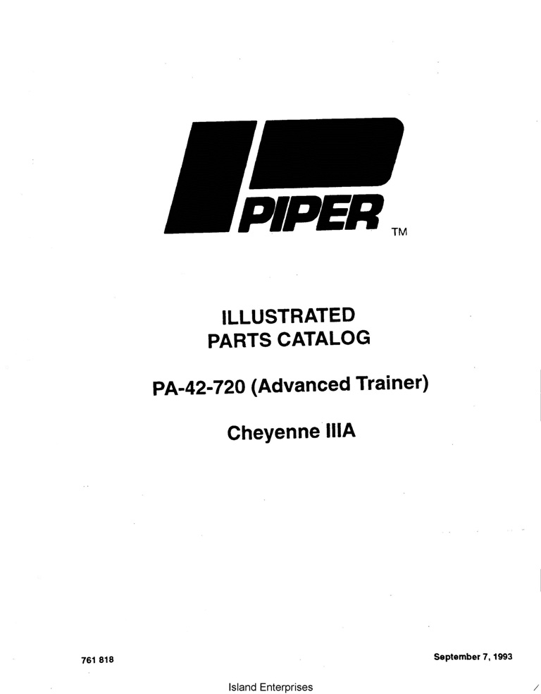 Piper Cheyenne IIIA Parts Catalog PA-42-720 Part # 761-818