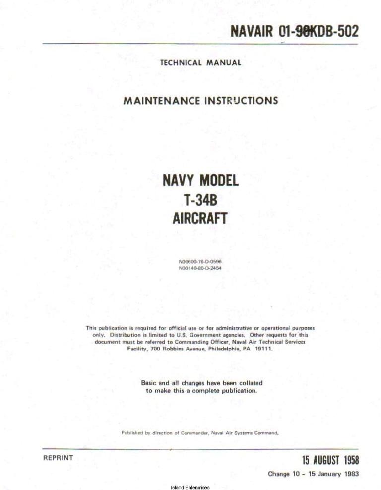 Beechcraft Navy Model T 34b Maintenance Instructions Navair 01 90kdb