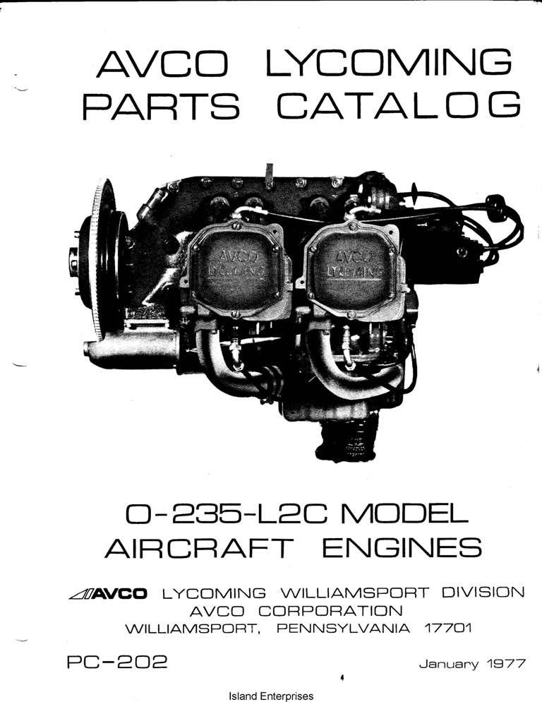 Avco Lycoming O-235-L2C Aircraft Engines Parts Catalog