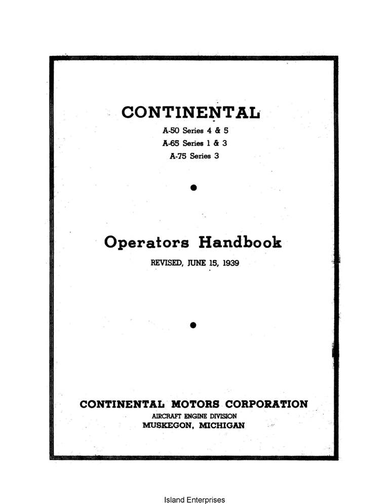 A 65 Continental Engine overhaul Manual