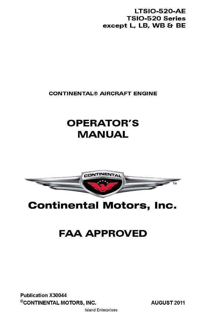continental operators manual tsio 520 ae x30044 rh eaircraftmanuals com tcm io-520 parts manual tcm io-520 parts manual