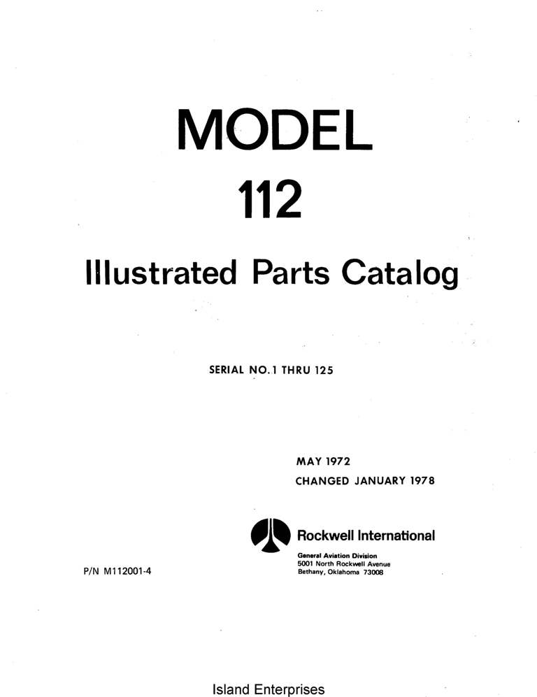 Aero Commander 112 Parts Catalog