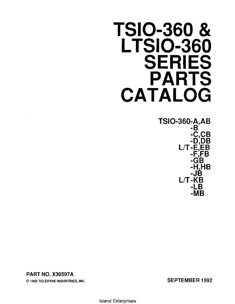 Continental Parts Catalog X30597A TSIO-LTSIO-360 Series