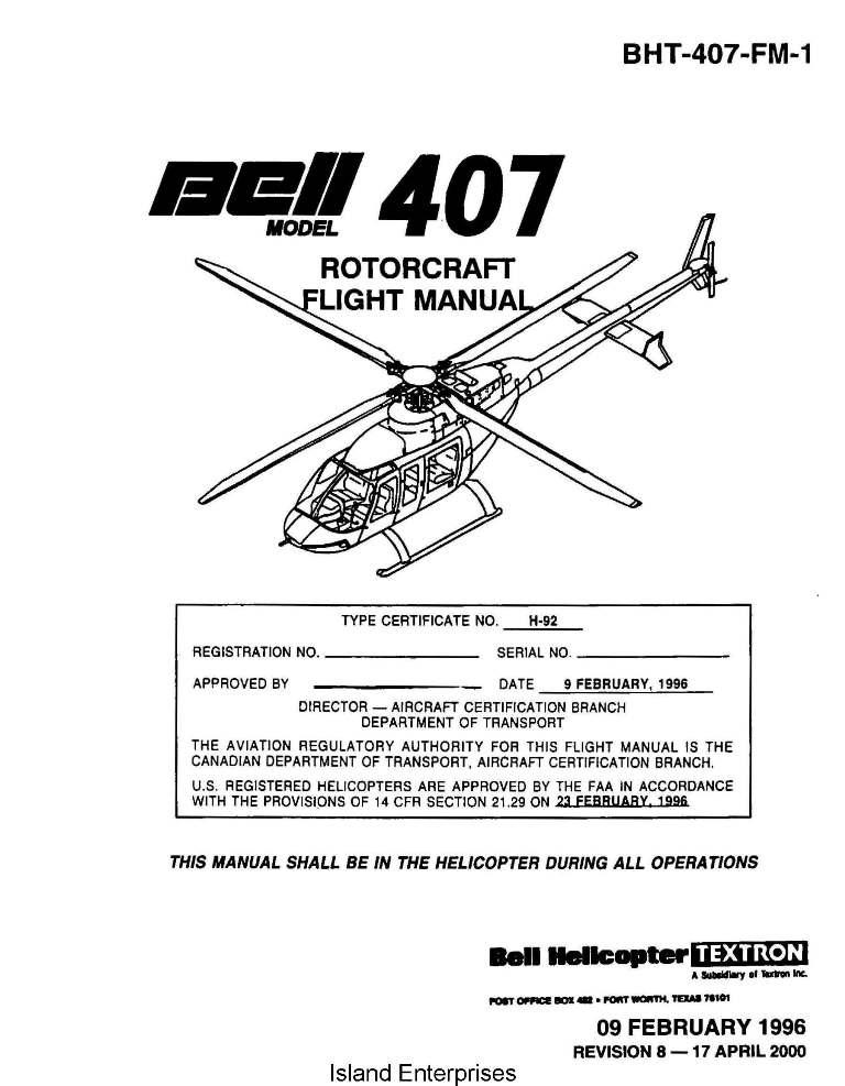 bell 407 rotorcraft flight manual 1996 2000 rh eaircraftmanuals com bell 47 helicopter maintenance manual bell 47 helicopter maintenance manual