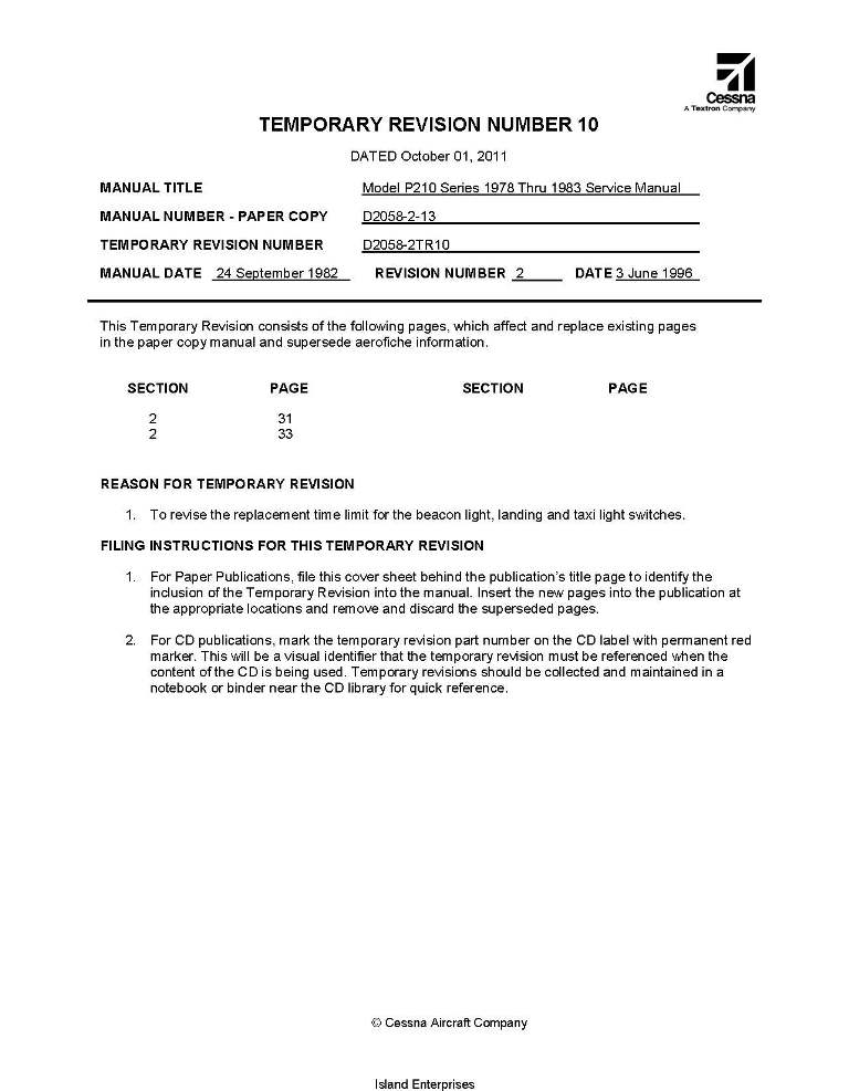 Cessna 210 Service manual download
