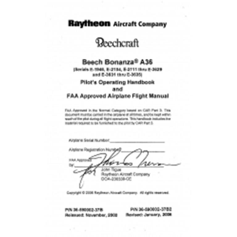 beechcraft beech bonanza a36 poh and flight manual pin 36 590002 37b2 rh eaircraftmanuals com Beechcraft Bonanza A36 Interior Beechcraft Bonanza A36 Interior