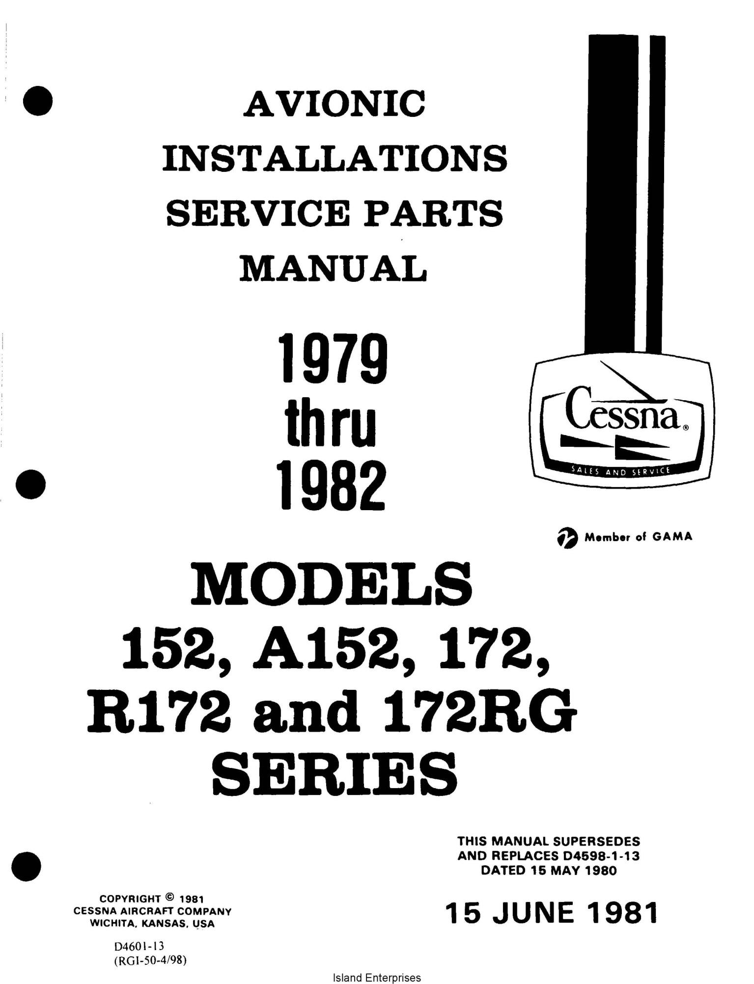 Cessna Model 152 A152 172 R172 172rg Service Parts