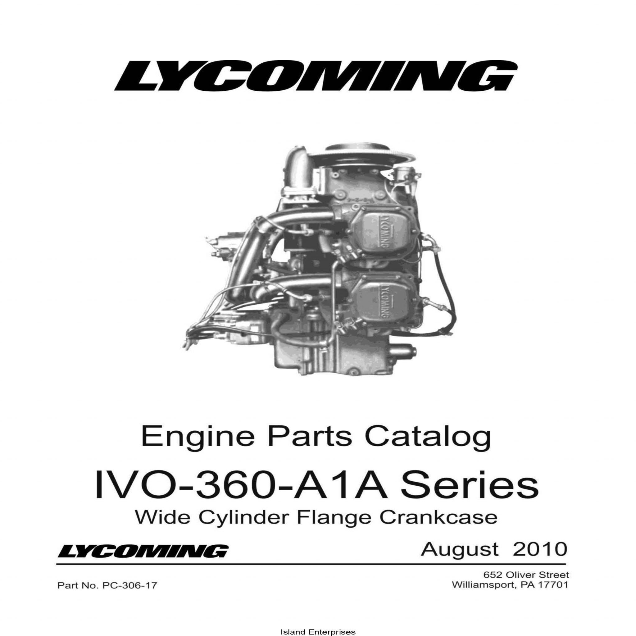 Lycoming Ivo 360 A 1 A Series Parts Catalog Pc 306 17
