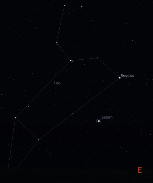 The constellation Leo with Regulus and Saturn, where the Leonid meteor shower originates