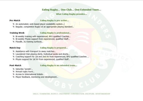 What Ealing Rugby provides