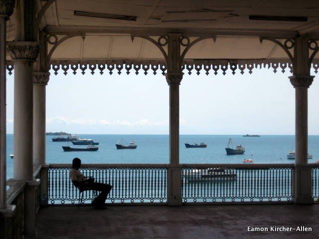 Boats idle in Stonetown's harbor. This porch was once part of the Omani sultan's palace. It's now a museum abotu Swahili culture.