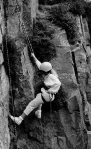 Abseiling at Cowrake Quarry 1988