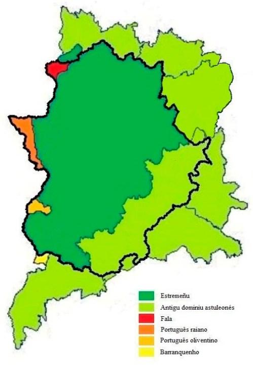 El mapa 1 describe la diversidad lingüística en Extremadura mediante colores que indican las zonas donde se hablan las lenguas minoritarias de Extremadura.