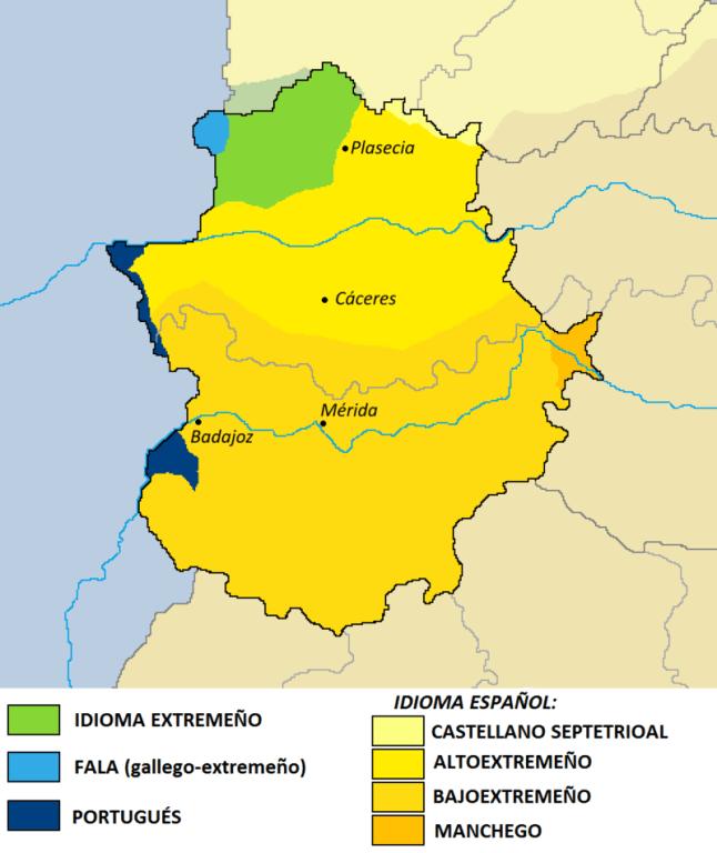 Mapa de les llengües d'Extremadura de la Wikipedia
