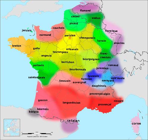 Mapa de les llengües de França