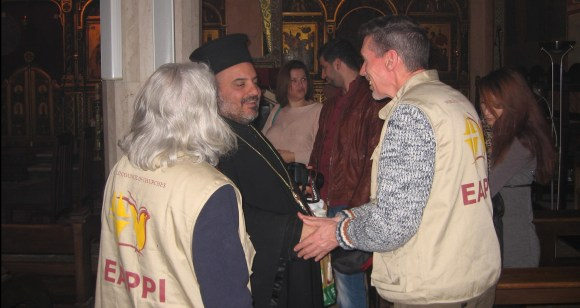 Greeting priests after the Greek Catholic service. Photo EAPPI/P. Craine.