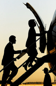 Hillary Clinton boarding plane