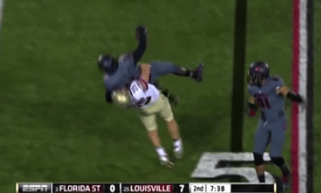 Florida State Tight End Nick O'Leary Slams Louisville Ball-Carrier to Ground After Interception