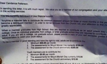 Church Members Complain About Receiving Collection Notices For Not Paying Tithes