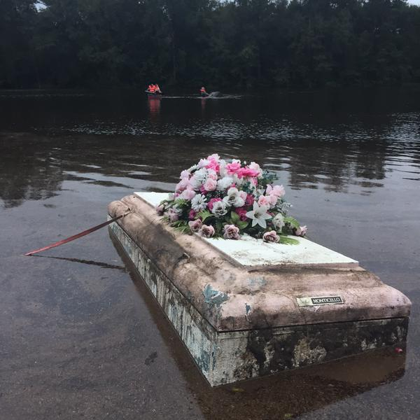 due to all the flooding in south carolina coffins are rising out