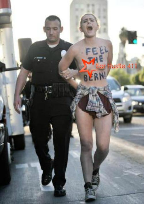"2 Topless Women With ""Feel The Bern"" Written On their Chest Outside Bernie Sanders Rally Arrested In LA"