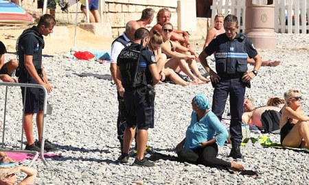 Armed French Police Forced Muslim Woman To Remove Burkini & Other Pieces Of Clothes On the Beach While Others Cheered Go Home!